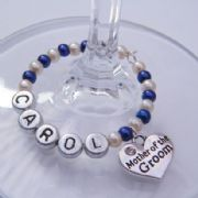 Mother Of The Groom Personalised Wine Glass Charm - Full Bead Style